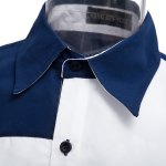 Patchwork Color Blocking Turn-back Collar Casual Shirt for sale