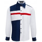 Patchwork Color Blocking Turn-back Collar Casual Shirt