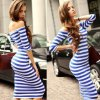 cheap Sexy Off The Shoulder Striped Women Bodycon Dress