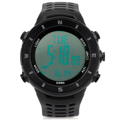 EZON H011 Professional Hiking Series Male Digital WatchSports Watches<br>EZON H011 Professional Hiking Series Male Digital Watch<br><br>Band Length: 9.45 inch<br>Band Material Type: Rubber<br>Band Width: 24 mm<br>Case material: Stainless Steel<br>Case Shape: Round<br>Clasp type: Pin Buckle<br>Dial Diameter: 1.89 inch<br>Dial Display: Digital<br>Dial Window Material Type: Hardlex<br>Feature: Alarm,Altimeter,Back Light,Chronograph,Complete Calendar,Led Display,Luminous<br>Gender: Men<br>Movement: Digital<br>Style: Sport<br>Water Resistance Depth: 50m<br>Product weight: 0.080 kg<br>Package weight: 0.291 kg<br>Product Size(L x W x H): 28.50 x 5.00 x 1.50 cm / 11.22 x 1.97 x 0.59 inches<br>Package Size(L x W x H): 9.00 x 16.50 x 8.50 cm / 3.54 x 6.5 x 3.35 inches<br>Package Contents: 1 x EZON H011 Professional Hiking Series Male Digital Watch, 1 x Bilingual Manual in English and Chinese