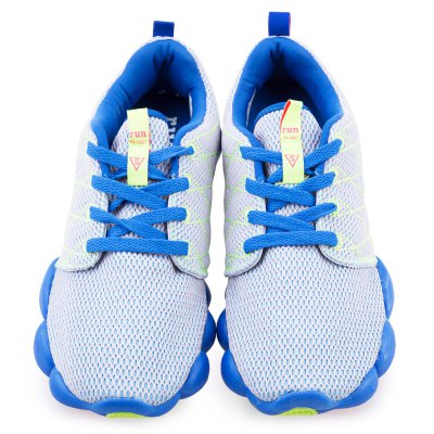 Color Block Mesh Breathable Lace Up Sports Shoes