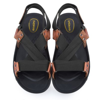 Cross Strap Skid Resistance Breathable Leather Sandals
