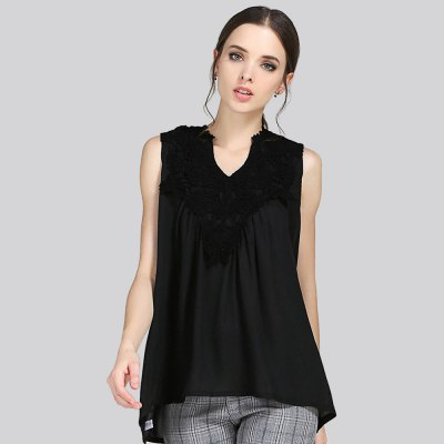 Stylish Lace Patchwork Pleated Loose Women T-shirt