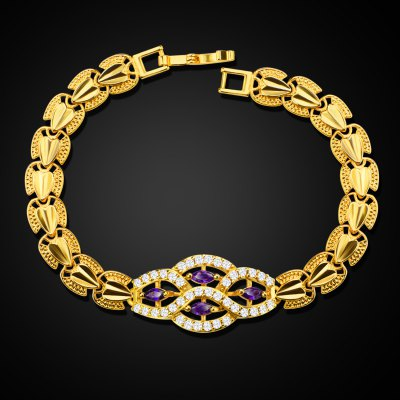 18k Gold Plated Luxury Crystal Ladies Bracelet for Gift