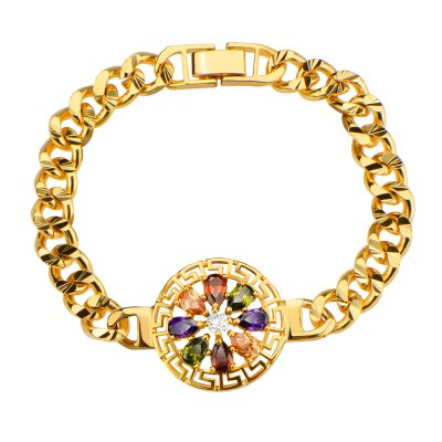 18k Trendy Gold Plated Colorful Crystal Ladies Bracelet for Photography