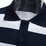 Men Turn Down Collar Short Sleeve Color Striped Polo Shirt for sale