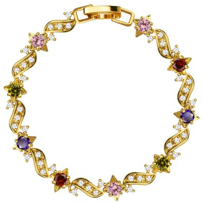 Colorful 18k Gold Plated Cubic Zirconia Crystal Bracelet Women Jewelry Gifts