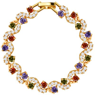 Crystal Bracelet 18k Gold Plated Cubic Zirconia Jewelry for Women