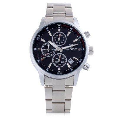 Skone 7390EG Men Quartz WatchMens Watches<br>Skone 7390EG Men Quartz Watch<br><br>Band Length: 6.69 inch<br>Band Material Type: Stainless Steel<br>Band Width: 18mm<br>Case material: Stainless Steel<br>Case Shape: Round<br>Clasp type: Folding Clasp<br>Dial Diameter: 1.42 inch<br>Dial Display: Analog<br>Dial Window Material Type: Mineral Glass Mirror<br>Feature: Date,Luminous<br>Gender: Men<br>Movement: Quartz<br>Style: Business<br>Water Resistance Depth: 30m<br>Product weight: 0.087 kg<br>Package weight: 0.108 kg<br>Product Size(L x W x H): 21.00 x 4.50 x 1.00 cm / 8.27 x 1.77 x 0.39 inches<br>Package Size(L x W x H): 11.50 x 5.50 x 2.00 cm / 4.53 x 2.17 x 0.79 inches<br>Package Contents: 1 x SKONE 7390EG Male Quartz Watch