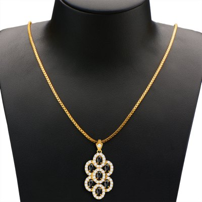 Grape Zirconia Hollow 18K Gold Plated Crystal Pendant Necklace