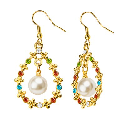Crystal Flower Simulation Pearl 18K Gold Plated Drop Earrings