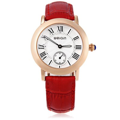 WeiQin W4813E Women Quartz WatchWomens Watches<br>WeiQin W4813E Women Quartz Watch<br><br>Band Length: 7.48 inch<br>Band Material Type: Genuine Leather<br>Band Width: 18mm<br>Case material: Alloy<br>Case Shape: Round<br>Clasp type: Pin Clasp<br>Dial Diameter: 1.38 inch<br>Dial Display: Analog<br>Dial Window Material Type: Hardlex<br>Gender: Women<br>Movement: Quartz<br>Style: Dress<br>Water Resistance Depth: 30m<br>Product weight: 0.041 kg<br>Package weight: 0.067 kg<br>Product Size(L x W x H): 24.00 x 4.00 x 0.80 cm / 9.45 x 1.57 x 0.31 inches<br>Package Size(L x W x H): 25.00 x 5.00 x 1.80 cm / 9.84 x 1.97 x 0.71 inches<br>Package Contents: 1 x WeiQin W4813E Female Quartz Watch