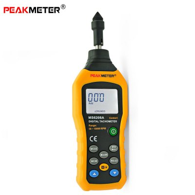 PEAKMETER MS6208A Contact Type Digital Tachometer Pocket Wind Speed Test Meter