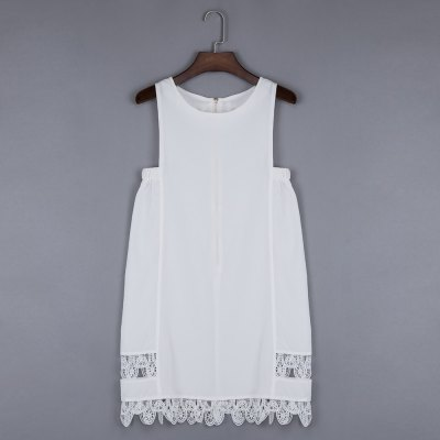 Round Collar Lacework Hollow Out Loose Women Mini Dress