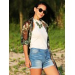 Women Turn Down Collar Long Sleeve Floral Print  Chiffon Blouse for sale