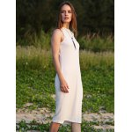 Women Jewel Collar Sleeveless Pure Color Sheathy Knitted Dress for sale