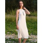Women Jewel Collar Sleeveless Pure Color Sheathy Knitted Dress deal