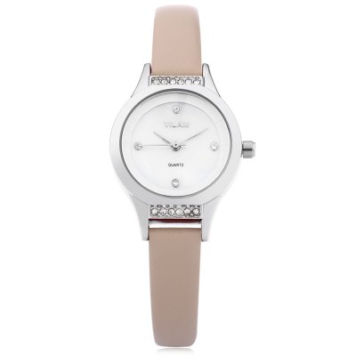 VILAM V1003L Female Quartz WatchWomens Watches<br>VILAM V1003L Female Quartz Watch<br><br>Band Length: 7.6 inch<br>Band Material Type: Leather<br>Band Width: 10 mm<br>Case material: Alloy<br>Case Shape: Round<br>Clasp type: Pin Buckle<br>Dial Diameter: 1 inch<br>Dial Display: Analog<br>Dial Window Material Type: Glass<br>Gender: Women<br>Movement: Quartz<br>Style: Dress,Simple<br>Water Resistance Depth: 30m<br>Product weight: 0.020 kg<br>Package weight: 0.041 kg<br>Product Size(L x W x H): 22.50 x 2.80 x 0.70 cm / 8.86 x 1.1 x 0.28 inches<br>Package Size(L x W x H): 23.50 x 3.80 x 1.70 cm / 9.25 x 1.5 x 0.67 inches<br>Package Contents: 1 x VILAM V1003L Women Quartz Watch