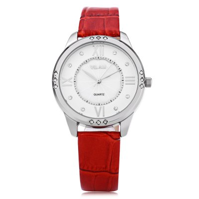 VILAM V1001L Women Quartz WatchWomens Watches<br>VILAM V1001L Women Quartz Watch<br><br>Band Length: 7.85 inch<br>Band Material Type: Leather<br>Band Width: 14 mm<br>Case material: Alloy<br>Case Shape: Round<br>Clasp type: Pin Buckle<br>Dial Diameter: 1.45 inch<br>Dial Display: Analog<br>Dial Window Material Type: Hardlex<br>Gender: Women<br>Movement: Quartz<br>Style: Dress<br>Water Resistance Depth: 30m<br>Product weight: 0.033 kg<br>Package weight: 0.054 kg<br>Product Size(L x W x H): 24.00 x 3.80 x 0.80 cm / 9.45 x 1.5 x 0.31 inches<br>Package Size(L x W x H): 25.00 x 4.80 x 1.80 cm / 9.84 x 1.89 x 0.71 inches<br>Package Contents: 1 x VILAM V1001L Women Quartz Watch