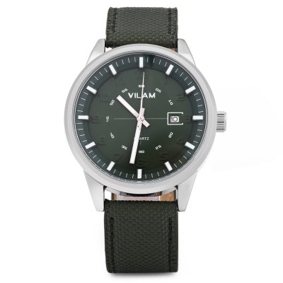 VILAM V2003G Men Quartz WatchMens Watches<br>VILAM V2003G Men Quartz Watch<br><br>Band Length: 8.25 inch<br>Band Material Type: Leather,Nylon<br>Band Width: 20 mm<br>Case material: Alloy<br>Case Shape: Round<br>Clasp type: Pin Buckle<br>Dial Diameter: 1.65 inch<br>Dial Display: Analog<br>Dial Window Material Type: Hardlex<br>Feature: Date<br>Gender: Men<br>Movement: Quartz<br>Style: Business<br>Water Resistance Depth: 30m<br>Product weight: 0.051 kg<br>Package weight: 0.207 kg<br>Product Size(L x W x H): 25.50 x 4.50 x 1.00 cm / 10.04 x 1.77 x 0.39 inches<br>Package Size(L x W x H): 27.50 x 8.50 x 3.50 cm / 10.83 x 3.35 x 1.38 inches<br>Package Contents: 1 x VILAM V2003G Men Quartz Watch, 1 x Watch Box