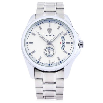 TEVISE 8377G Male Auto Mechanical WatchMens Watches<br>TEVISE 8377G Male Auto Mechanical Watch<br><br>Band Length: 8.27 inch<br>Band Material Type: Stainless Steel<br>Band Width: 20 mm<br>Case material: Stainless Steel<br>Case Shape: Round<br>Clasp type: Folding Clasp with Safety<br>Dial Diameter: 1.65 inch<br>Dial Display: Analog<br>Dial Window Material Type: Mineral Glass Mirror<br>Feature: Chronograph,Date,Luminous<br>Gender: Men<br>Movement: Automatic Self-Wind<br>Style: Business,Dress<br>Water Resistance Depth: 30m<br>Product weight: 0.148 kg<br>Package weight: 1.169 kg<br>Product Size(L x W x H): 21.00 x 4.50 x 1.30 cm / 8.27 x 1.77 x 0.51 inches<br>Package Size(L x W x H): 11.50 x 5.50 x 2.30 cm / 4.53 x 2.17 x 0.91 inches<br>Package Contents: 1 x TEVISE 8377G Men Auto Mechanical Watch