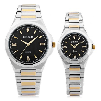 WEIQIN W00140 Couple Quartz WatchCouples Watches<br>WEIQIN W00140 Couple Quartz Watch<br><br>Band Length: men: 8.27 inch, women: 7.48 inch<br>Band Material Type: Stainless Steel<br>Band Width: men: 18mm, women: 14mm<br>Case material: Alloy<br>Case Shape: Round<br>Clasp type: Sheet Folding Clasp<br>Dial Diameter: men: 1.45 inch, women: 1.08 inch<br>Dial Display: Analog<br>Dial Window Material Type: Hardlex<br>Gender: lovers,Men,Women<br>Movement: Quartz<br>Style: Dress<br>Water Resistance Depth: 30m<br>Product weight: 0.158 kg<br>Package weight: 0.180 kg<br>Package Size(L x W x H): 11.50 x 9.00 x 3.70 cm / 4.53 x 3.54 x 1.46 inches<br>Package Contents: 1 x WEIQIN W00140 Couple Quartz Watch