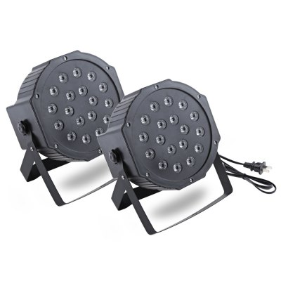 2pcs 18W LED RGB Stage Par Light with DMX-512 Control