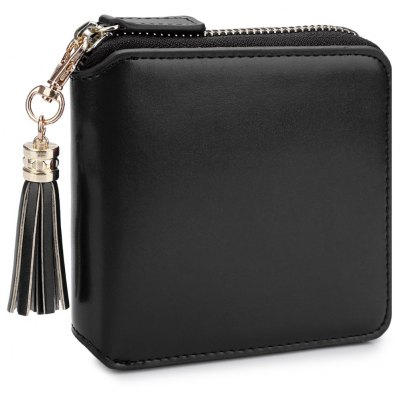 Detachable Tassel Solid Color Zipper Square Wallet