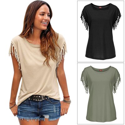 Round Collar Short Sleeve Fringed Pure Color Women T-Shirt
