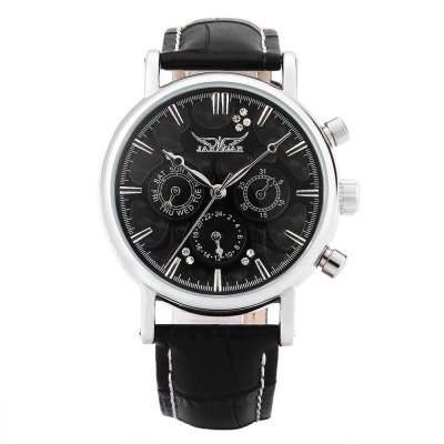 JARAGAR F120545 Men Automatic Mechanical WatchMens Watches<br>JARAGAR F120545 Men Automatic Mechanical Watch<br><br>Band Length: 7.5 inch<br>Band Material Type: Genuine Leather<br>Band Width: 18mm<br>Case material: Alloy<br>Case Shape: Round<br>Clasp type: Pin Clasp<br>Dial Diameter: 1.5 inch<br>Dial Display: Analog<br>Dial Window Material Type: Hardlex<br>Feature: Date,Day<br>Gender: Men<br>Movement: Automatic Self-Wind<br>Style: Business<br>Product weight: 0.063 kg<br>Package weight: 0.084 kg<br>Product Size(L x W x H): 24.50 x 4.20 x 1.30 cm / 9.65 x 1.65 x 0.51 inches<br>Package Size(L x W x H): 25.50 x 5.20 x 2.30 cm / 10.04 x 2.05 x 0.91 inches<br>Package Contents: 1 x JARAGAR F120545 Male Automatic Mechanical Watch