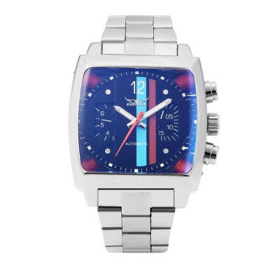JARAGAR F120549 Men Automatic Mechanical WatchMens Watches<br>JARAGAR F120549 Men Automatic Mechanical Watch<br><br>Band Length: 6.3 inch<br>Band Material Type: Stainless Steel<br>Band Width: 20mm<br>Case material: Alloy<br>Case Shape: Rectangle<br>Clasp type: Folding Clasp with Safety<br>Dial Diameter: 1.42 inch<br>Dial Display: Analog<br>Dial Window Material Type: Hardlex<br>Feature: Date,Day,Luminous<br>Gender: Men<br>Movement: Automatic Self-Wind<br>Style: Business<br>Product weight: 0.149 kg<br>Package weight: 0.170 kg<br>Product Size(L x W x H): 22.00 x 4.50 x 1.30 cm / 8.66 x 1.77 x 0.51 inches<br>Package Size(L x W x H): 12.00 x 5.50 x 2.30 cm / 4.72 x 2.17 x 0.91 inches<br>Package Contents: 1 x JARAGAR F120549 Men Automatic Mechanical Watch
