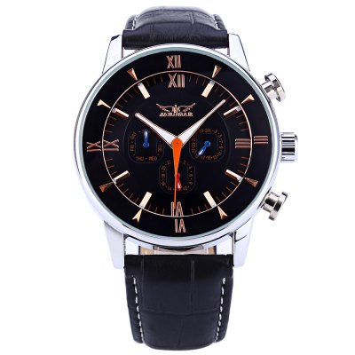 JARAGAR F120550 Men Auto Mechanical WatchMens Watches<br>JARAGAR F120550 Men Auto Mechanical Watch<br><br>Band Length: 8.25 inch<br>Band Material Type: Genuine Leather<br>Band Width: 22 mm<br>Case material: Alloy<br>Case Shape: Round<br>Clasp type: Pin Buckle<br>Dial Diameter: 1.75 inch<br>Dial Display: Analog<br>Dial Window Material Type: Hardlex<br>Feature: Date,Day,Luminous<br>Gender: Men<br>Movement: Automatic Self-Wind<br>Style: Business<br>Water Resistance Depth: 30m<br>Product weight: 0.091 kg<br>Package weight: 0.112 kg<br>Product Size(L x W x H): 26.00 x 5.00 x 1.30 cm / 10.24 x 1.97 x 0.51 inches<br>Package Size(L x W x H): 27.00 x 6.00 x 2.30 cm / 10.63 x 2.36 x 0.91 inches<br>Package Contents: 1 x JARAGAR F120550 Men Auto Mechanical Watch