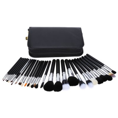 Professional Soft Cosmetic Tool Makeup Brush Set with Black Leather Case