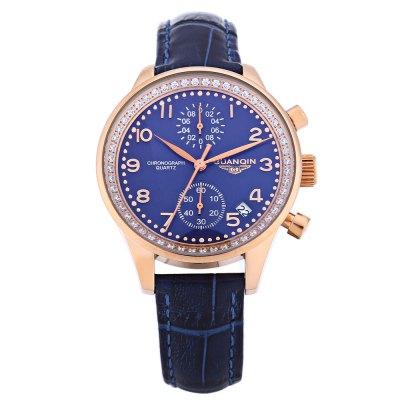 GUANQIN CQ15008 Women Quartz WatchWomens Watches<br>GUANQIN CQ15008 Women Quartz Watch<br><br>Band Length: 7.98 inch<br>Band Material Type: Genuine Leather<br>Band Width: 16 mm<br>Case material: Stainless Steel<br>Case Shape: Round<br>Clasp type: Pin Buckle<br>Dial Diameter: 1.45 inch<br>Dial Display: Analog<br>Dial Window Material Type: Sapphire<br>Feature: Chronograph,Date<br>Gender: Women<br>Movement: Quartz<br>Style: Dress<br>Water Resistance Depth: 100m<br>Product weight: 0.042 kg<br>Package weight: 0.063 kg<br>Product Size(L x W x H): 24.50 x 4.00 x 1.00 cm / 9.65 x 1.57 x 0.39 inches<br>Package Size(L x W x H): 25.50 x 5.00 x 2.00 cm / 10.04 x 1.97 x 0.79 inches<br>Package Contents: 1 x GUANQIN CQ15008 Women Quartz Watch
