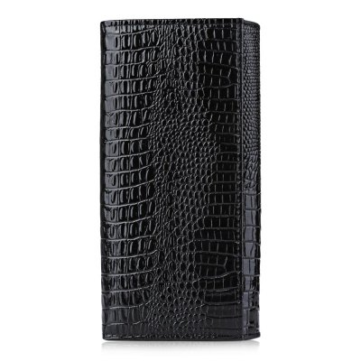 Crocodile Leather Cover Snap Fastener Clutch Wallet