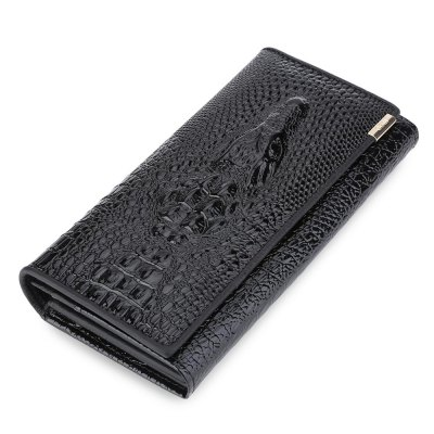 Animal Leather Cover Snap Fastener Clutch Wallet