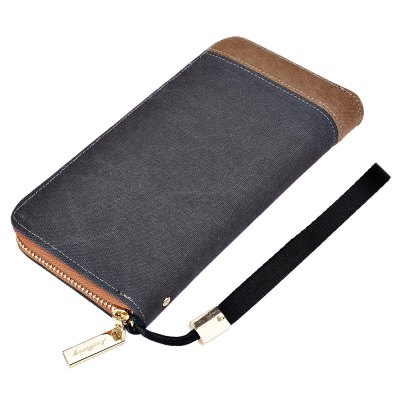 Baellerry Patchwork Canvas Portable Clutch Wallet