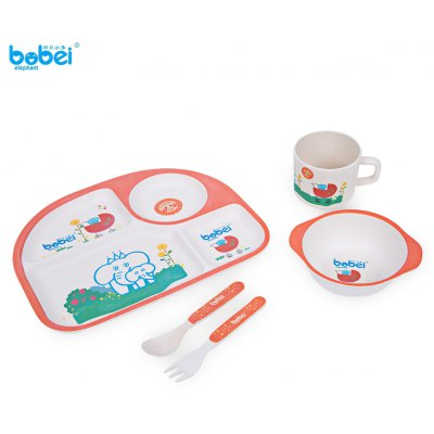 Bobei Elephant 5pcs Children Tableware Set for Present