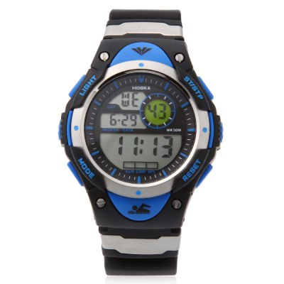 HOSKA H013B Children LED Digital WatchKids Watches<br>HOSKA H013B Children LED Digital Watch<br><br>Band Length: 8.45 inch<br>Band Material Type: Silicone<br>Band Width: 20 mm<br>Case material: Plastic<br>Case Shape: Round<br>Clasp type: Pin Buckle<br>Dial Diameter: 1.77 inch<br>Dial Display: Digital<br>Dial Window Material Type: Plastic<br>Feature: Alarm,Chronograph,Date,Day,Led Display,Luminous<br>Gender: Children<br>Movement: Digital<br>Style: Sport<br>Water Resistance Depth: 50m<br>Product weight: 0.056 kg<br>Package weight: 0.179 kg<br>Product Size(L x W x H): 26.00 x 4.50 x 1.50 cm / 10.24 x 1.77 x 0.59 inches<br>Package Size(L x W x H): 27.00 x 5.50 x 2.50 cm / 10.63 x 2.17 x 0.98 inches<br>Package Contents: 1 x HOSKA H013B Children LED Digital Watch, 1 x Watch Box