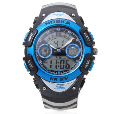 HOSKA HD014B Dual Movt Kid Sport Quartz Digital WatchKids Watches<br>HOSKA HD014B Dual Movt Kid Sport Quartz Digital Watch<br><br>Band Length: 7.95 inch<br>Band Material Type: Silicone<br>Band Width: 20mm<br>Case material: Plastic<br>Case Shape: Round<br>Clasp type: Pin Buckle<br>Dial Diameter: 1.62 inch<br>Dial Display: Analog-Digital<br>Dial Window Material Type: Plastic<br>Feature: Alarm,Chronograph,Day,Led Display,Luminous<br>Gender: Children<br>Movement: Digital,Quartz<br>Style: Sport<br>Water Resistance Depth: 50m<br>Product weight: 0.050 kg<br>Package weight: 0.071 kg<br>Product Size(L x W x H): 24.50 x 4.30 x 1.60 cm / 9.65 x 1.69 x 0.63 inches<br>Package Size(L x W x H): 25.50 x 5.30 x 2.60 cm / 10.04 x 2.09 x 1.02 inches<br>Package Contents: 1 x HOSKA HD014B Children Dual Movt Watch