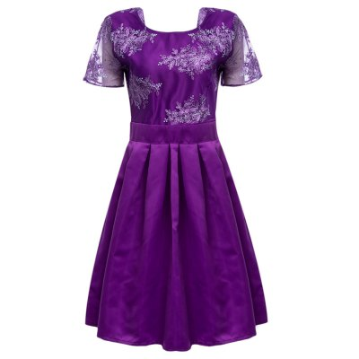 Round Collar Backless Embroidery A-Line Women Midi Party Dress