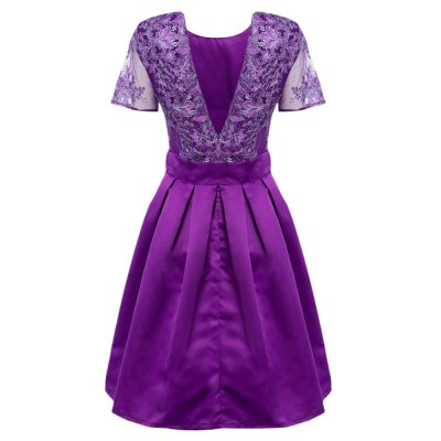 Women Elegant Round Collar Backless Embroidery Party Dress