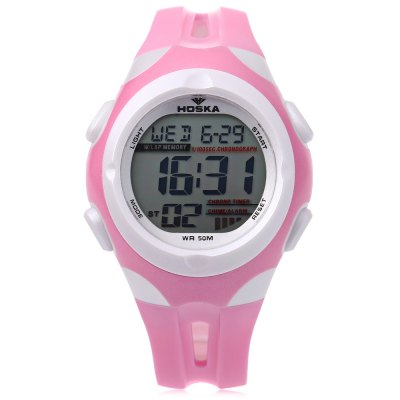 HOSKA H012S Digital Children Sport WatchKids Watches<br>HOSKA H012S Digital Children Sport Watch<br><br>Band Length: 6.89 inch<br>Band Material Type: Silicone<br>Band Width: 16mm<br>Case material: Plastic<br>Case Shape: Round<br>Clasp type: Pin Buckle<br>Dial Diameter: 1.50 inch<br>Dial Display: Digital<br>Dial Window Material Type: Acrylic<br>Feature: Alarm,Auto Date,Back Light,Chronograph,Day,Led Display<br>Gender: Children<br>Movement: Digital<br>Style: Sport<br>Water Resistance Depth: 50m<br>Product weight: 0.032 kg<br>Package weight: 0.053 kg<br>Product Size(L x W x H): 22.00 x 3.80 x 1.30 cm / 8.66 x 1.5 x 0.51 inches<br>Package Size(L x W x H): 23.00 x 4.80 x 2.30 cm / 9.06 x 1.89 x 0.91 inches<br>Package Contents: 1 x HOSKA H012S Digital Children Watch