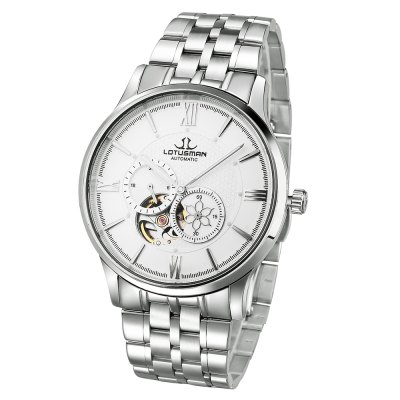 LOTUSMAN DM502SWA Men Automatic Mechanical WatchMens Watches<br>LOTUSMAN DM502SWA Men Automatic Mechanical Watch<br><br>Band Length: 8.27 inch<br>Band Material Type: Stainless Steel<br>Band Width: 20 mm<br>Case material: Stainless Steel<br>Case Shape: Round<br>Clasp type: Butterfly Clasp<br>Dial Diameter: 1.57 inch<br>Dial Display: Analog<br>Dial Window Material Type: Sapphire<br>Feature: Luminous<br>Gender: Men<br>Movement: Automatic Self-Wind<br>Style: Business<br>Water Resistance Depth: 50m<br>Product weight: 0.130 kg<br>Package weight: 0.523 kg<br>Product Size(L x W x H): 21.00 x 4.50 x 1.00 cm / 8.27 x 1.77 x 0.39 inches<br>Package Size(L x W x H): 12.00 x 12.00 x 10.00 cm / 4.72 x 4.72 x 3.94 inches<br>Package Contents: 1 x LOTUSMAN DM502SWA Male Automatic Mechanical Watch