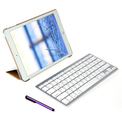 4 in 1 Leather Smart Case with Wireless Bluetooth Keyboard for iPad Air 2