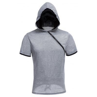 Men Solid Color Inclined Zipper Design Hooded Shirts