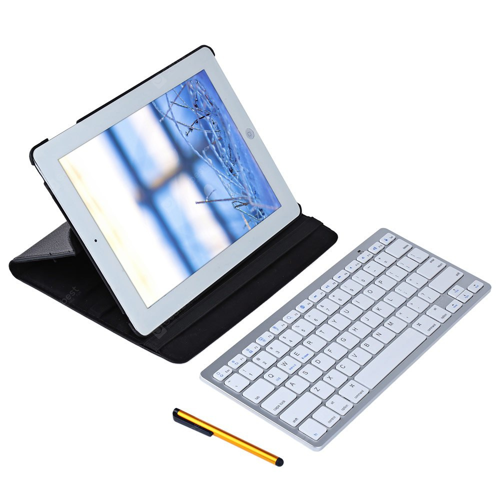 Rotating Smart Case with Bluetooth Keyboard for iPad 2 - 3 - 4