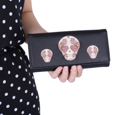 Skull Heart Plant Rivet Long Clutch WalletWomens Wallets<br>Skull Heart Plant Rivet Long Clutch Wallet<br><br>Wallets Type: Clutch Wallets<br>Gender: For Women<br>Style: Fashion<br>Closure Type: Snap Fastener<br>Pattern Type: Print<br>Main Material: Leather<br>Hardness: Soft<br>Interior: Interior Slot Pocket<br>Embellishment: Rivet<br>Height: 9 cm / 3.54 inch<br>Width: 3 cm / 1.18 inch<br>Length(CM): 19.1 cm / 7.52 inch<br>Product weight: 0.106 kg<br>Package weight: 0.133 kg<br>Package size (L x W x H): 19.60 x 3.50 x 9.50 cm / 7.72 x 1.38 x 3.74 inches<br>Package Contents: 1 x Wallet