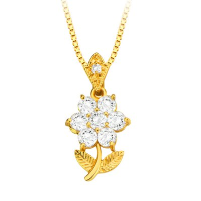 Flower Zirconia Crystal 18k Gold Plated Necklace