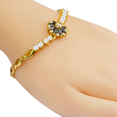 Flower Crystal Cubic Zirconia 18k Gold Plated Clasp Bracelet